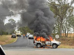Gympie fishing buddies escape burning vehicle