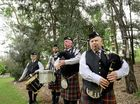 From left, Peter Thomson, Tim Caldwell, Don MacSween and Alwyn Clarke from the Ipswich Thistle Pipe Band prepare for the Queensland Pipe Band Championships on June 6. Photo: David Nielsen / The Queensland Times