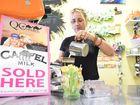 CAMEL-CINO: Alchemy Well-being Cafe Bernadette Leonard pours a camel milk coffee. Photo: NewsMail / Eliza Goetze