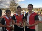 Warwick Netball junior A player of the final winners Sophie Waples (centre court),Olivia Smith (defence) and Lucy Mantova (goal shooter) after the 2015 grand finals.