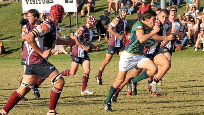 Rugby Union Grand final, Sunshine Coast University in green v's Noosa in marone and white. University won 47 to Noosa 17. USC 9 Anthony Graham .  Photo Greg Miller / Sunshine Coast Daily