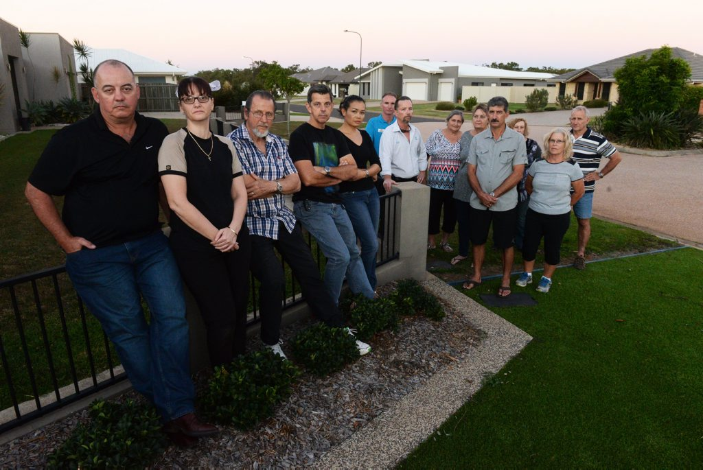 HEALTH CONCERNS: Edenbrook Estate residents are concerned about the proposed development of a Windrow Composting Facility at Kay McDuff Drive Norville. Craig Brooks, Jodie Brooks, Keith Mansfield, Ron Geyer, Na Geyer, Clinton Church, Robert Astill, June Lavander, Leah Whaleboat, Joe Galea, Andrea Astill, Maureen Cox and Larry Cox. Photo: Mike Knott / NewsMail