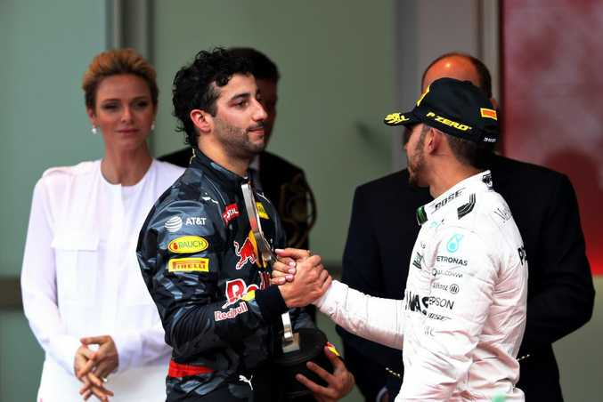 Red Bull's Daniel Ricciardo on the podium after coming second to Lewis Hamilton at the 2016 Monaco Grand Prix. Photo: Contributed