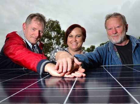 WINNING: Leanne Hellmrich with Dean Ervik and Garry Claridge, of Community Solar Sunshine Coast, are celebrating the commencement of their group's first project.