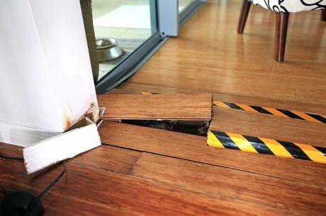Damaged floor boards.