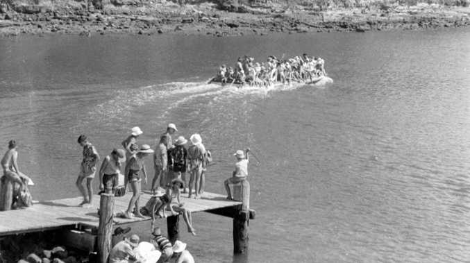 FUN TIMES: Children from Alexandra Park departing on a boat trip from the wharf at Point Cartwright in January 1956.