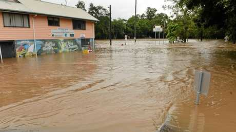 WILD WEATHER: Nambour, Petrie Creek flood waters, February 21, 2015.