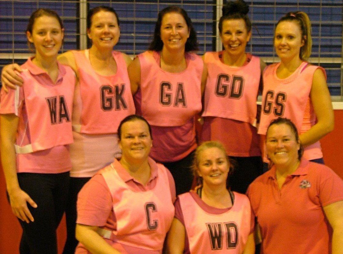 A-GRADE WINNERS: (back) Nicola Cobon, Maree Johanson, Danni Muir, Michelle McCarthy, Deb Mattiazzi. (front) Kayelene O'Dea, Megan Hines, Kathryn McConville.