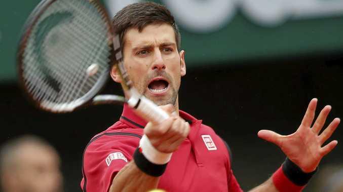 Serbia's Novak Djokovic on his way to victory over Tomas Berdych.