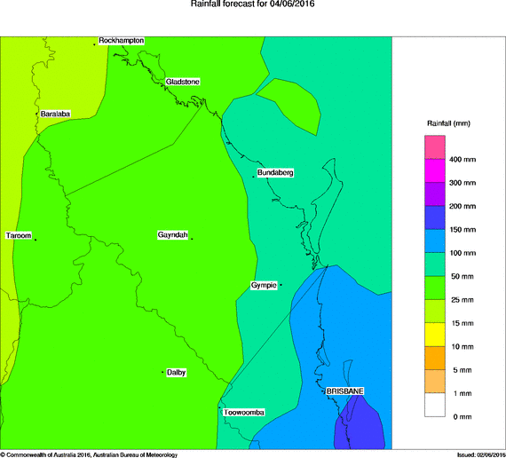 Rain forecast for the Wide Bay Region, Saturday, June 4 2016. Image courtesy Bureau of Meteorology.