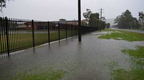 Flooding from the heavy rainfall at Richmond River high school campus in North Lismore