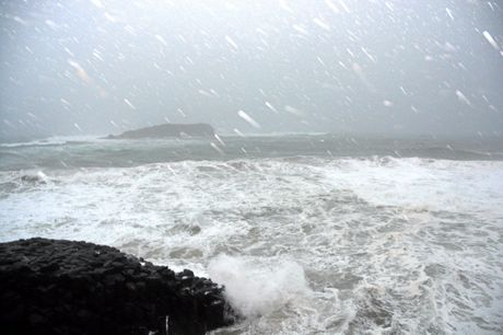Rain buckets down as seas rise at Fingal Head on Saturday, June 4, 2016.