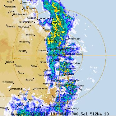 Snapshot of the Bureau of Meteorology radar at 5am