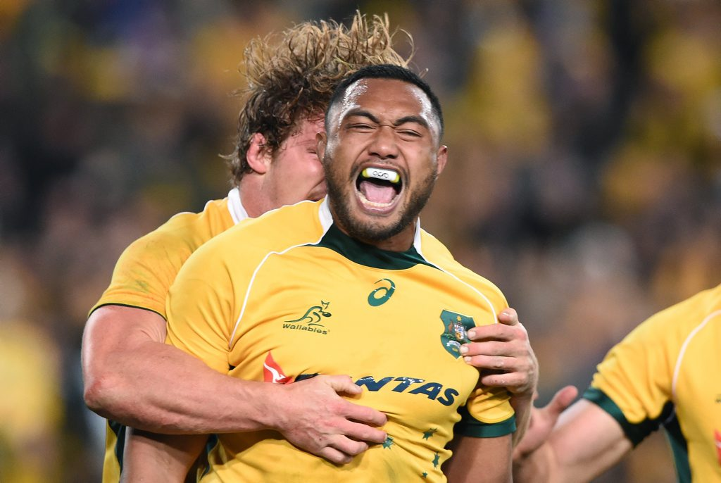 Wallabies player Sekope Kepu reacts after scoring a try during the Rugby Championship and Bledisloe Cup match between Australia and New Zealand at ANZ Stadium.
