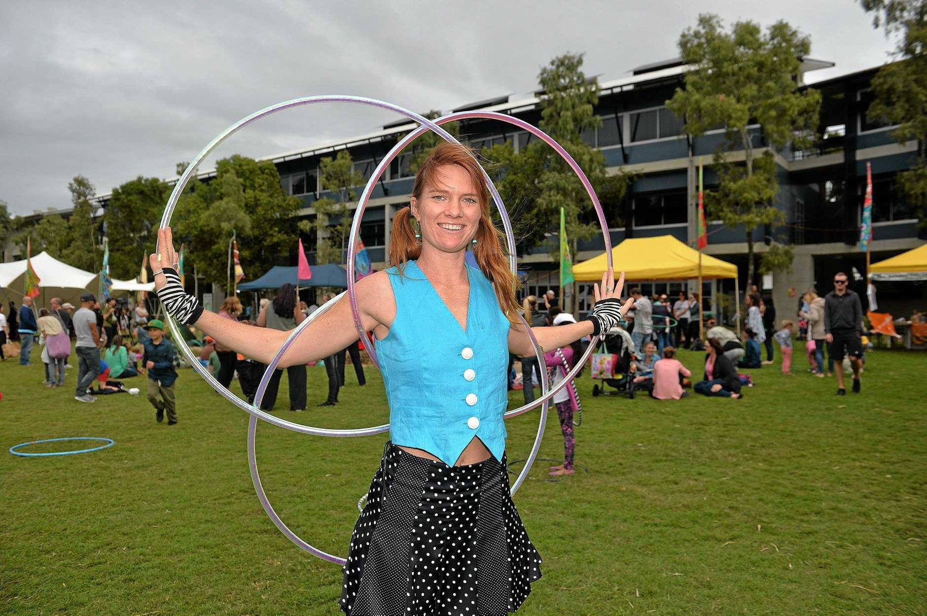 World Environment Day Festival at the University of the Sunshine Coast with Jesse Favell from Sunshine's Hoop Love. The evnt has shifted back to Cotton Tree this year. Photo: Warren Lynam / Sunshine Coast Daily