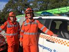 """Tweed Coast SES workers Brett Handley and Grant """"Jack"""" Frost, preparing for another big day after flooding. June 5, 2016"""