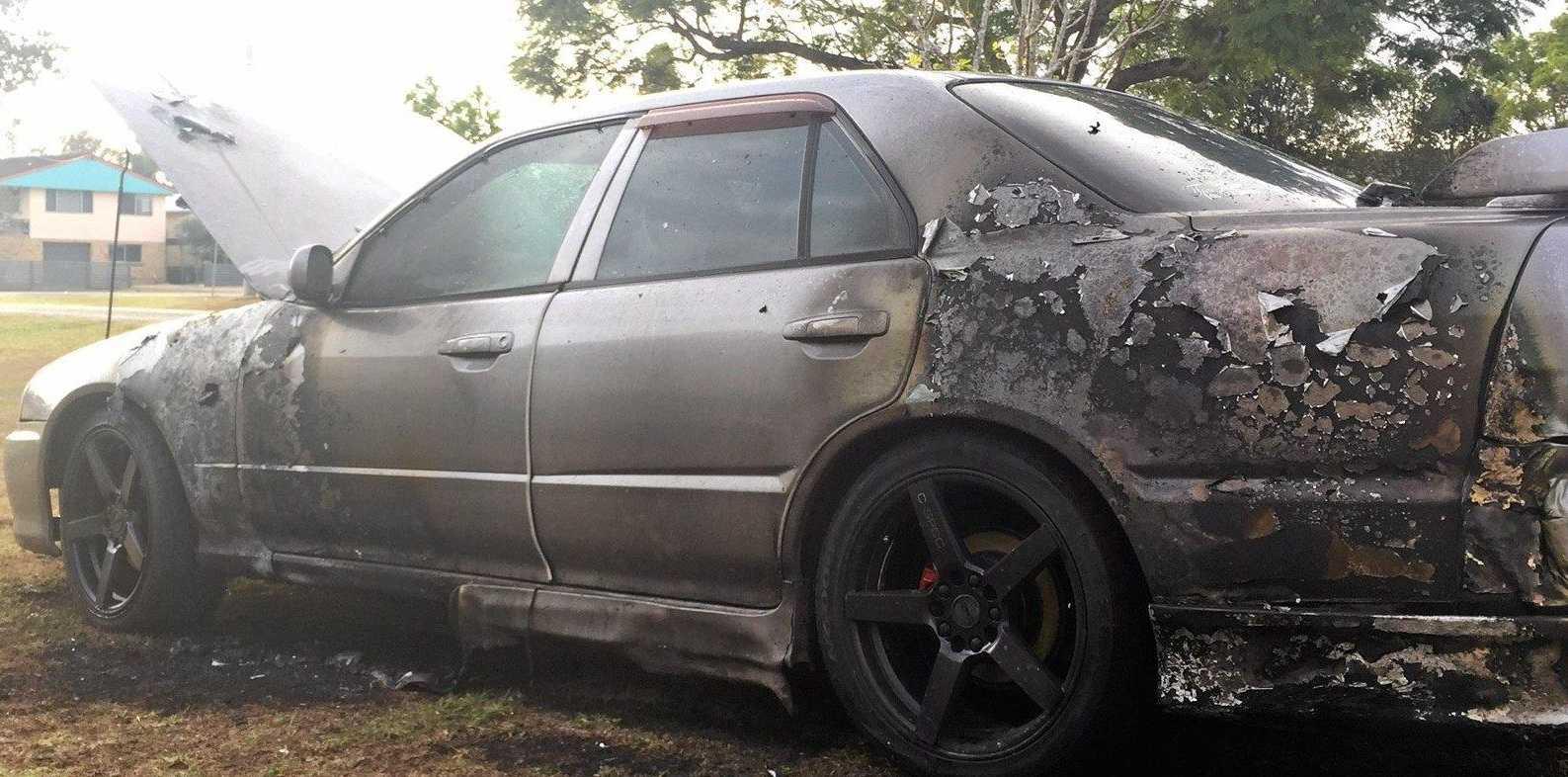 SENSELESS: A car parked in Grafton has been set alight.