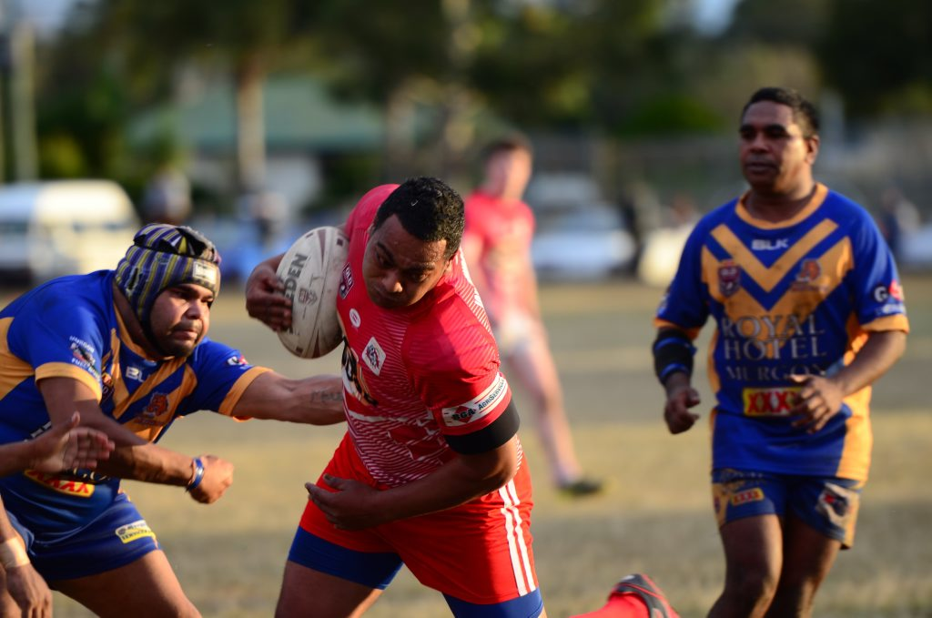 Red Ants Sipau Taufa makes a break through the guts of the Murgon defence in the Kingaroy Red Ants v Murgon Mustangs clash at Murgon on Saturday, June 4.