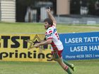 Jake Johnston celebrates his try for Pittsworth against Souths in Hutchinson Builders TRL Premiership A grade rugby league round 11 at Clive Berghofer Stadium, Sunday, June 5, 2016.