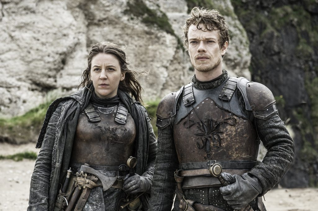 Gemma Whelan and Alfie Allen in a scene from season six of Game of Thrones.