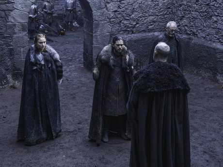 Sophie Turner, Kit Harington, Liam Cunningham and Tim McInnerny in a scene from Game of Thrones.