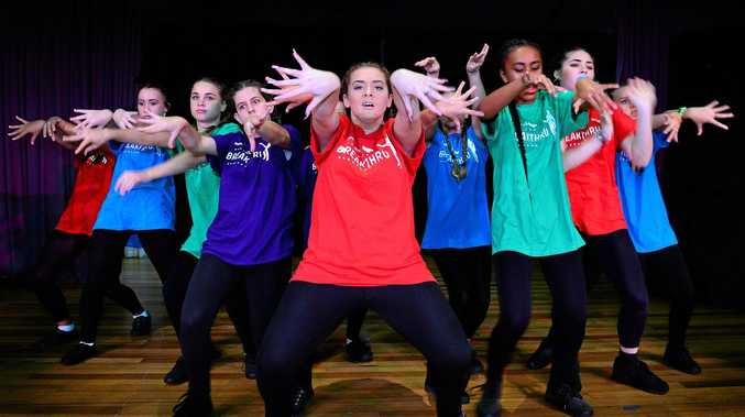 JUST DANCE: Dynamic dance group Eminence from Kawana Waters State College are led by Zoe Sullivan in a charged hip hop routine.