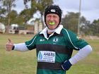 Chinchilla Fat Rats player Bill Blake shows off his enthusiasm at being back on the footy field on Saturday.