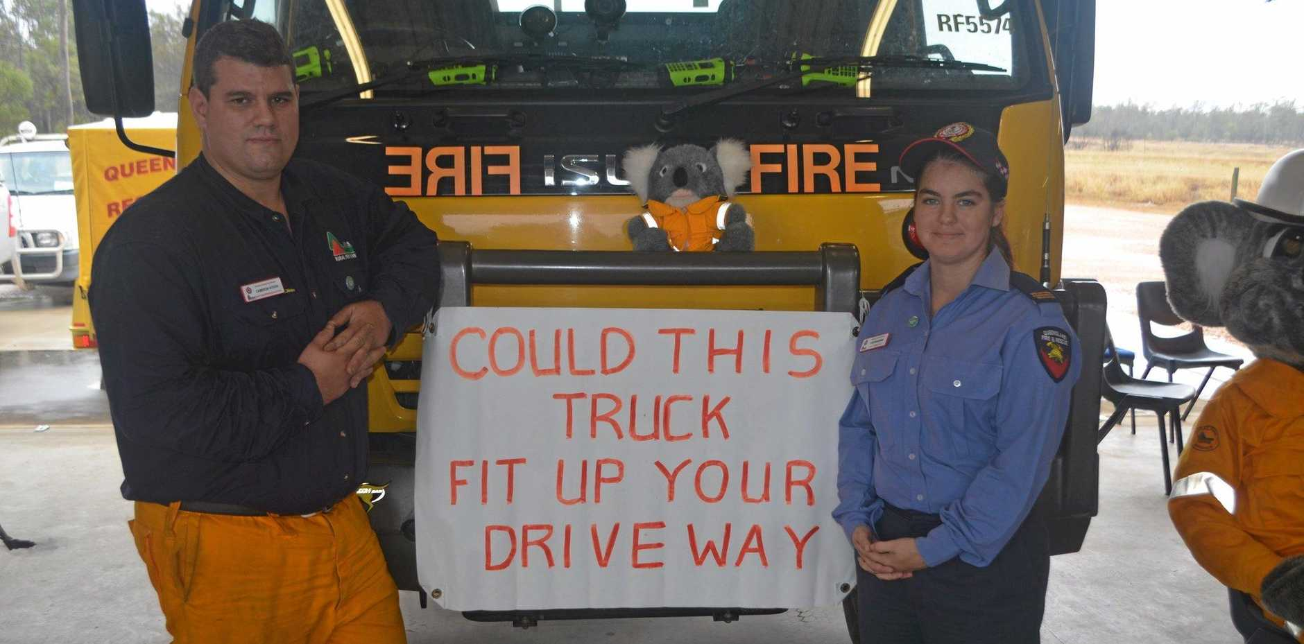 Cameron Kitson and Kristin Norris at Gatton-Springdale Rural Fire Brigade Open Day.