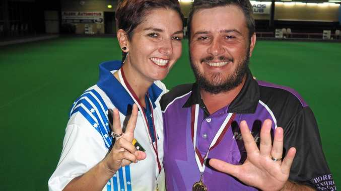 CHAMPS: Emma Brown won her second state mixed pairs title while husband Kurt won his fifth.