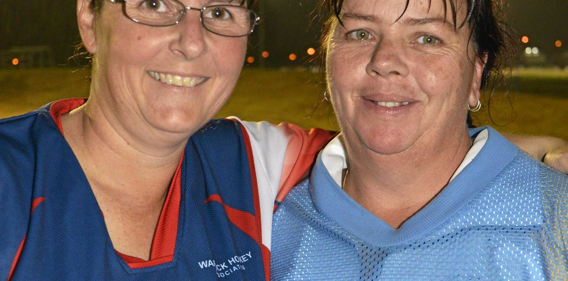 BIG HAUL: Kerri Fitch (right), pictured with Shannon Armbruster, scored five goals in Saints 10-4 win against Harlequins.
