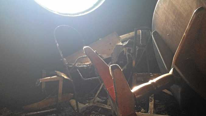 GUTTED: Images showing the devastated bistro of the Australian Hotel