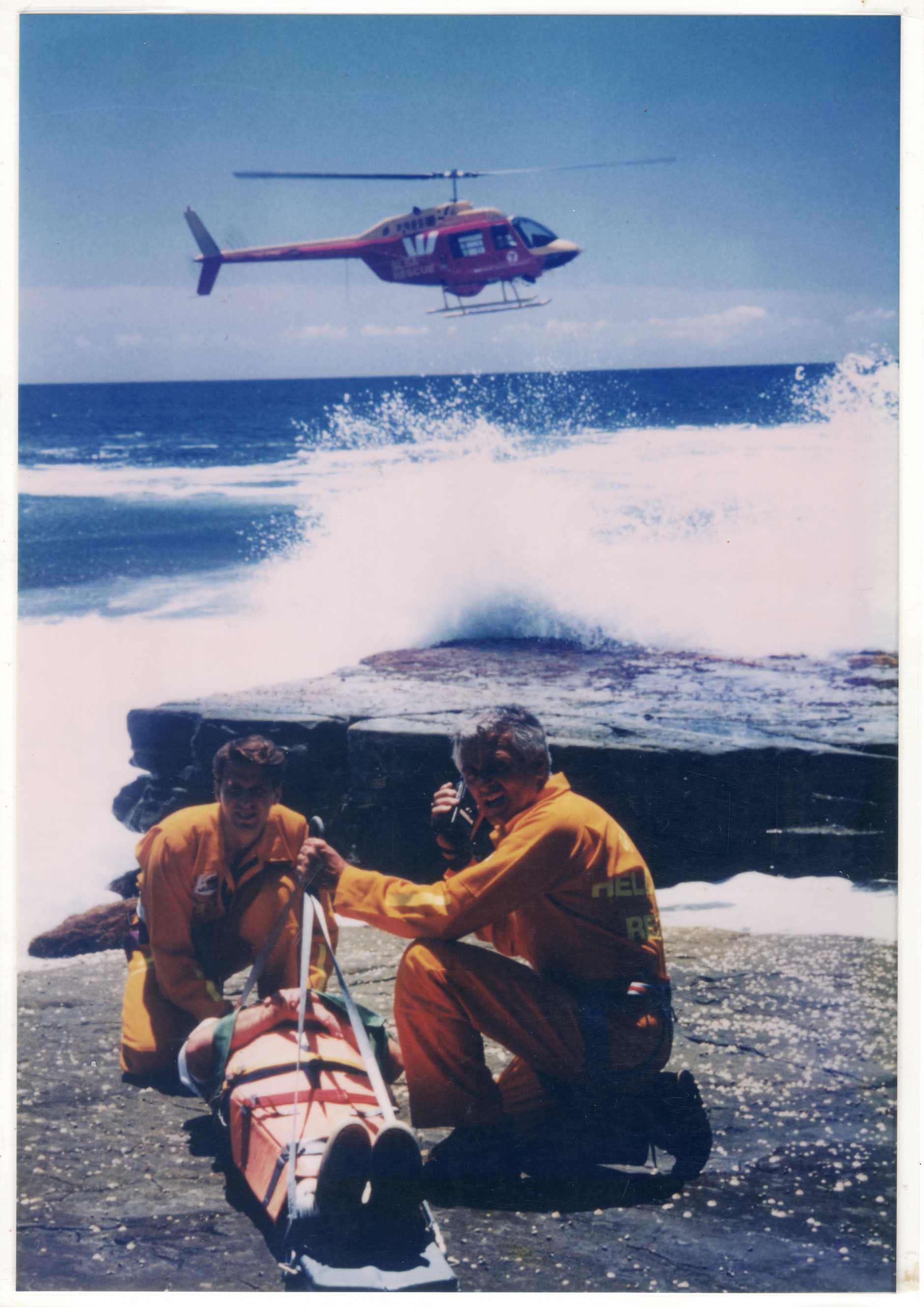 Former Westpac rescue helicopter crewmen Michael Perren (left) and Hayden Kenny in 1989.