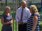 Gladstone MP Glenn Butcher with Minister Kate Jones at Rosella Park State School to announce $170,000 to replace the kids main playground.
