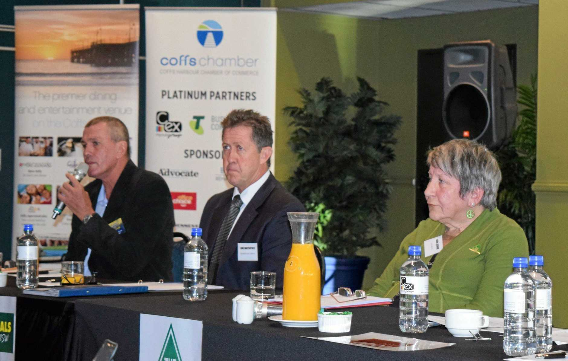 GAME ON: Cowper candidates Michael Gough, incumbent Luke Hartsuyker and Carol Vernon spoke on a range of key issues at the Coffs Harbour Chamber of Commerce candidates forum.