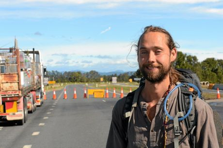 Canadian backpacker Benji Moravec stranded on Tweed Valley way. Mr Moravec was trying to make it to the Krishna Farm past Murwillumbah after hitch-hiking from Brisbane on Sunday morning.