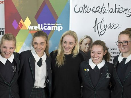 Alyssa Azar with St Ursula's College students (from left) Nina Gannon, Selina Herbert, Kaitlyn Beattie-Zarb and Ruby Crabtree-Spencer at Wellcamp Airport.