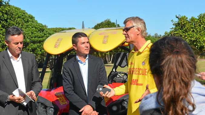 Salt SLSC president Mark Humphries talks with Minister for Infrastructure and Transport Darren Chester and Nationals candidate for Richmond Matthew Fraser at yesterday's funding annoucement.