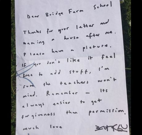 A note left behind by notoriously secretive artist Banksy