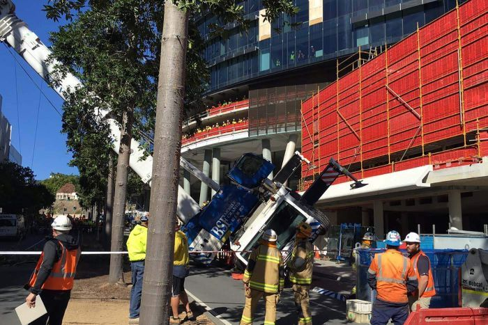 The crane driver is understood to have escaped unharmed. Twitter: @QASMedDirector