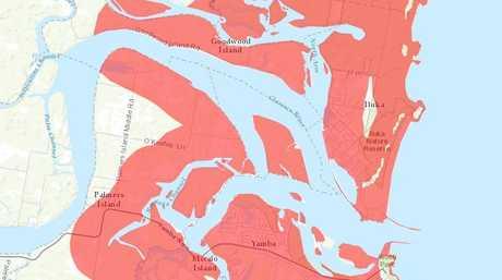 Tsunami evacuation zone map for Yamba and northern NSW east coast near Grafton. (CHRIS)