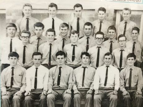 Maryborough Boy's High School class 6A1 in 1964 - uniforms included long pants and ties.