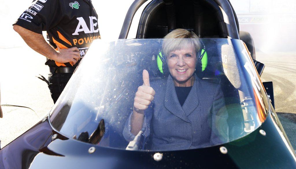 Julie Bishop MP gets a taste of a top fueler drag car at Willowbank Raceway on Wednesday