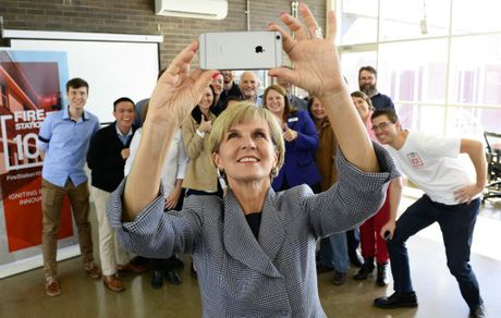Julie Bishop takes a selfie with the crew at Fire Station 101 on Wednesday.