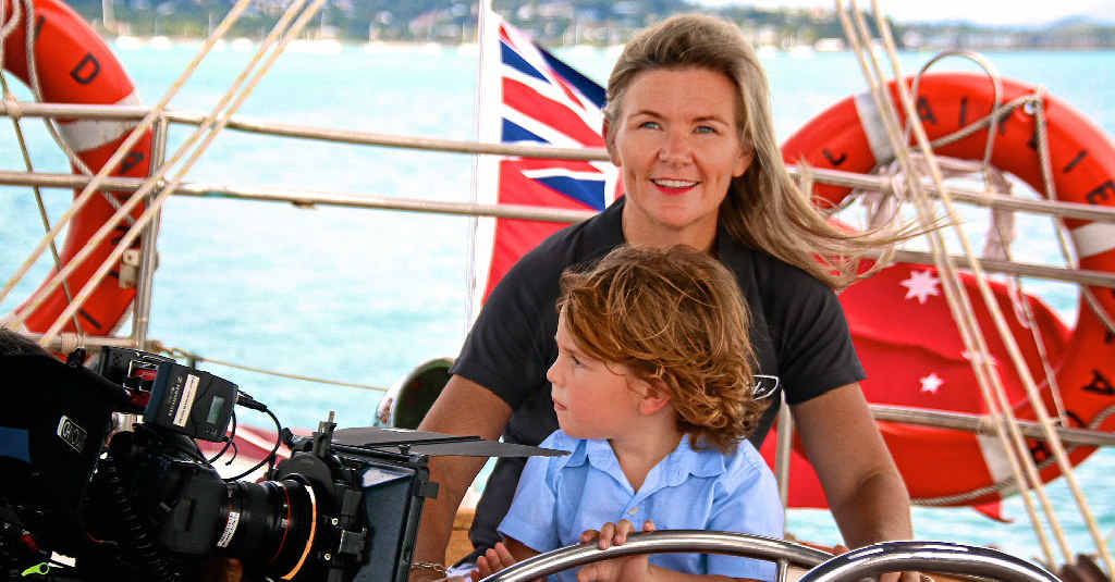 PASSIONATE PEOPLE: Nicole Graham and her son Bracken sailing out of Airlie Beach aboard their charter yacht Enid for filming of the latest Fight for the Reef campaign: Vote for the Reef. Photo: Contributed