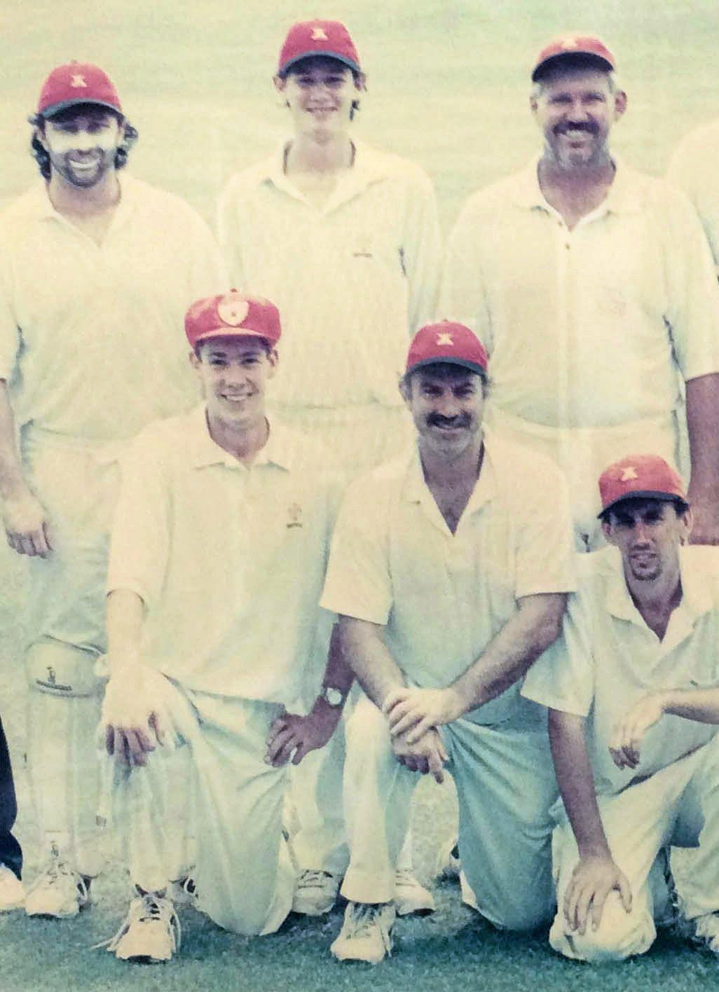 Part of the South Services Cricket Club first grade grand finalists 1999-2000. Back:  Mick O'Neill, Ashley Cowan and John Frame (captain). Front: Ben Atherton, Bill Wynn and Andrew Page.