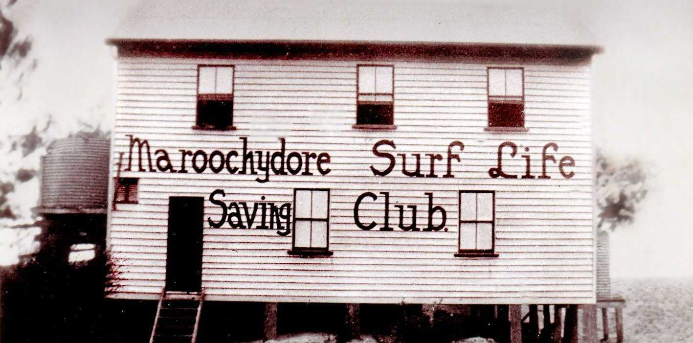 Maroochydore Surf Life Saving Club's original clubhouse, circa 1924.