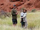 Chris Hemsworth with wife Elsa Pataky and son Sasha Hemsworth at Uluru-Kata Tjuta National Park, Northern Territory.