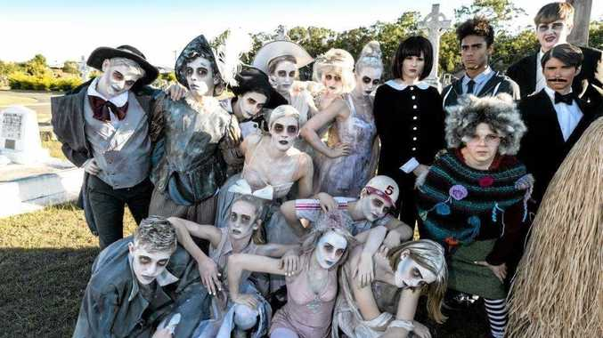KOOKY MUSICAL: The cast of the Addams Family musical.