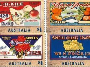 Australia's nostalgic fruit labels at stamp size