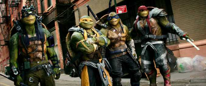 Donatello, Michelangelo, Leonardo and Raphael in a scene from the movie Teenage Mutant Ninja Turtles: Out of the Shadows.